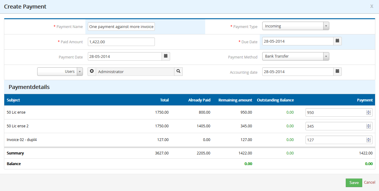 Cashflow4You - Payment extension for vtiger CRM